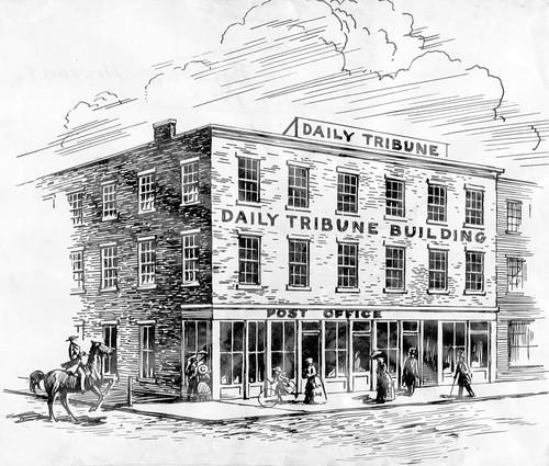 An artist's rendering of the Tribune Building, which was built in 1852. The Tribune was first published in 1847.