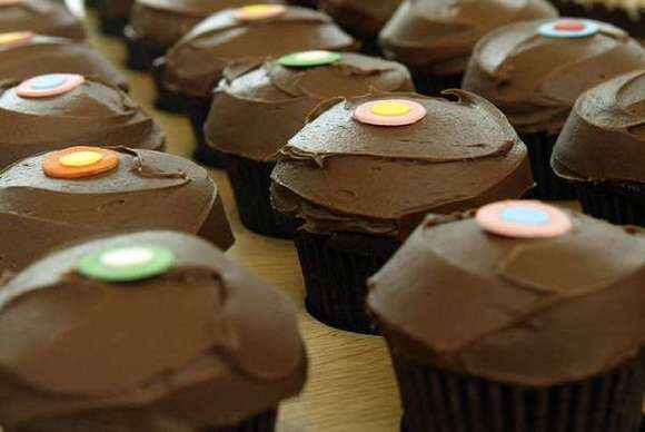 Chocolate cupcakes at Sprinkles in Beverly Hills