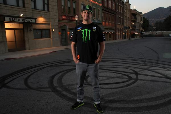 Stunt driver Ken Block at a Universal Studios lot in Los Angeles. An athletic 45-year-old adrenaline junkie, Block has parlayed his doughnut-carving skills into a lucrative business. His YouTube videos have become Internet sensations, drawing advertisers such as Ford and energy drink company Monster.