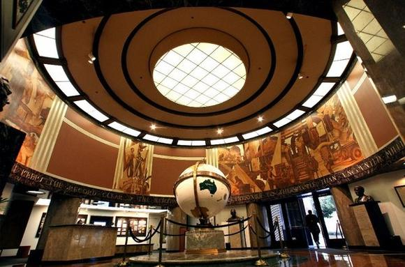 The famous Globe Lobby in the headquarters of the Times building in downtown Los Angeles