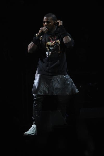 Kanye West shocked some fans by rocking a Givenchy leather kilt for his performance at the Sandy relief concert in New York. No surprise: The kilt had its own Twitter account within minutes. (December)