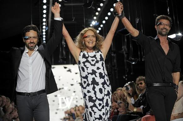 Google co-founder Sergey Brin walked the runway with designer Diane von Furstenberg, using the platform to launch Glass by Google, a head-mounted, augmented reality technology. (September)