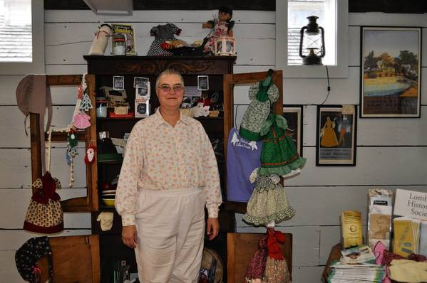 Pat Shaver makes period doll dresses that she donates to be sold in the Lombard Historical Society gift shop.