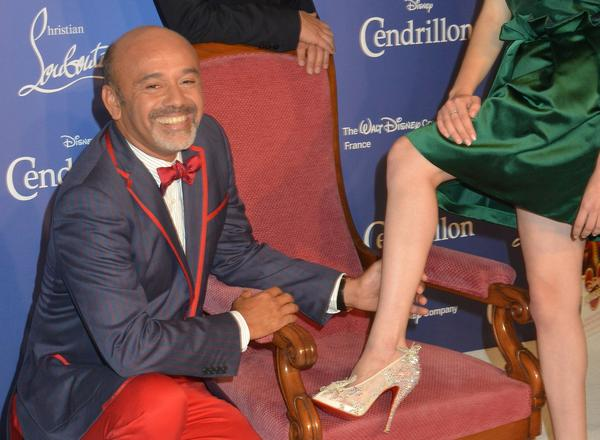 "Christian Louboutin designed a pair of limited-edition heels inspired by Cinderella in honor of Walt Disney's rerelease of ""Cinderella"" on Blu-ray and DVD. The mesh heels were embellished with crystals and butterflies -- and sported the design"
