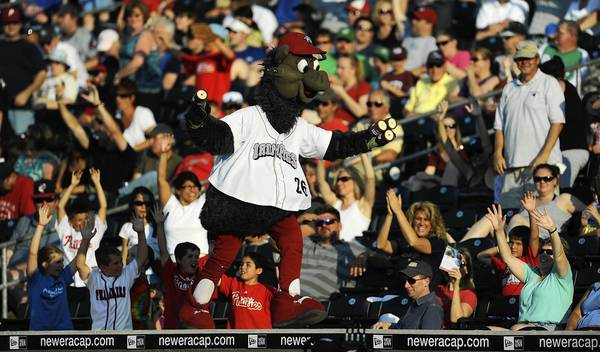 Fans cheer for prizes as IronPigs mascot Ferris gets the crowd going at Coca Cola Park on Saturday June 30, 2012.