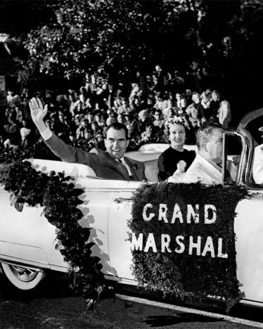 Richard Nixon, accompanied by wife Pat, was the grand marshal of the 71st Tournament of Roses Parade in 1960.