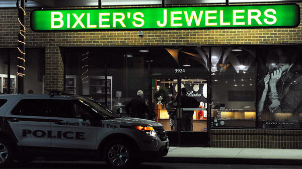 South Whitehall Township Police Department investigate a robbery at Bixler's Jewelers at 3900 Hamilton Shops and Offices on Hamilton Blvd. in South Whitehall Township Friday night.