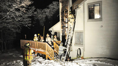 The damage at this seasonal townhouse along South Ridge Way in Hidden Valley Resort was mostly limited to the fireplace and chimney area. Seven fire departments responded to the scene.