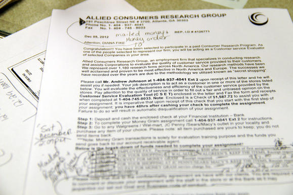 Letter received by Diana Fike from Allied Consumers Research Group