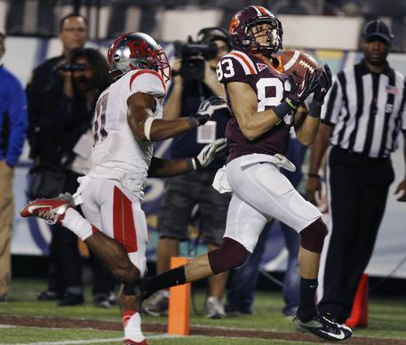 during the Russell Athletic Bowl game of Virginia Tech versus Rutgers at the Florida Citrus Bowl in Orlando on Friday, December 28, 2012. Virginia Tech won the game 13-10 in overtime.