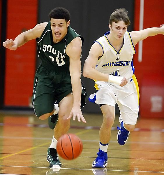 South Hagerstown's Kevin White steals the ball from Waynesboro's Tim Ingram in the first quarter of Friday's Hubs Holiday Classic game at North Hagerstown.