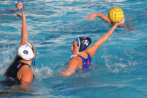 Corona del Mar High's Cassidy Papa (14) scores against Dos Pueblos.