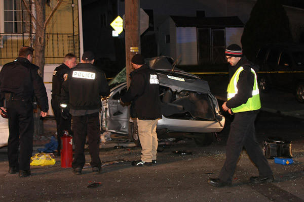Members of the Catasauqua Police Department assisted by the State Police at Bethlehem are investigating a single car double fatal accident at the intersection of Railroad and Race Streets in Catasauqua Saturday morning.