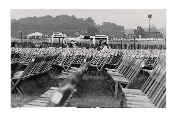 A couple waits for the show to begin on the first night of the Laurel Pop Festival, held July 11 and 12, 1969 at Laurel Park racetrack.