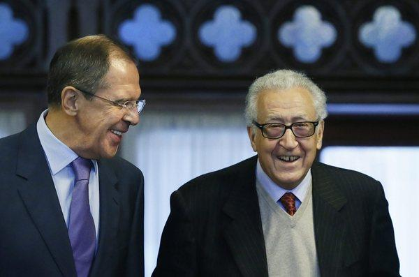 Russian Foreign Minister Sergei Lavrov, left, meets with U.N. envoy to Syria Lakhdar Brahimi in Moscow on Saturday.
