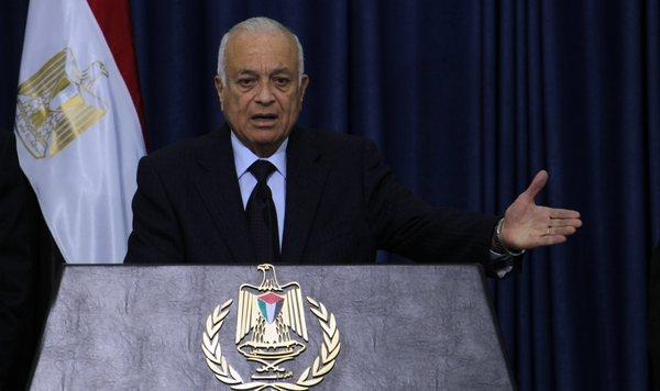 Arab League Secretary-General Nabil Elaraby talks reporters after his meeting with Palestinian officials in the West Bank city of Ramallah on Saturday.