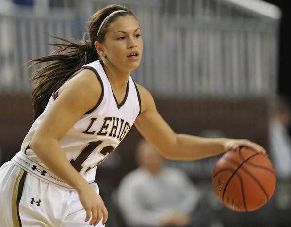 Lehigh's Hilary Weaver dribbles the ball. The Lehigh Mountain Hawks women's basketball team played against the Binghamton Bearcats for the 2012 Christmas City Classic tournament Saturday, December 29, 2012 at Stabler Arena in Bethlehem, Pennsylvania.