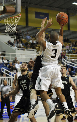 Lehigh's CJ McCollum shoots for the basket. The Lehigh Mountain Hawks mens's basketball team played against the Bryant Bearcats for the 2012 Christmas City Classic tournament Saturday, December 29, 2012 at Stabler Arena in Bethlehem, Pennsylvania.