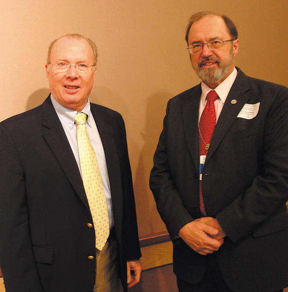 The Rev. Fred Lehr, left, of Renewal Ministries, and Dr. David Baker, Meritus Health director of spiritual care, meet at a Meritus conference for local clergy and lay leaders.
