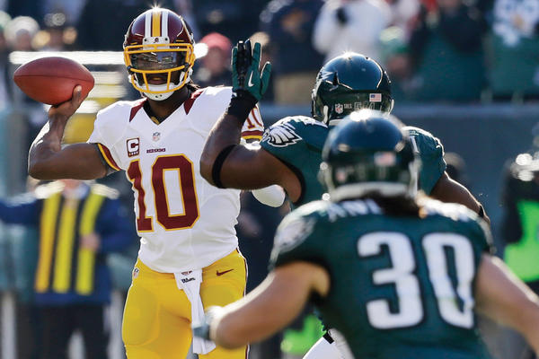 Washington quarterback Robert Griffin III (10) will face his ultimate test when he leads the Redskins against the Dallas Cowboys tonight with the NFC East title and a playoff spot at stake.