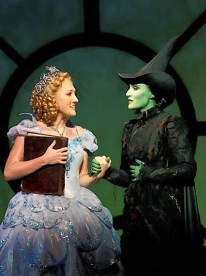 "Tiffany Haas (left) as Glinda the Good Witch in Broadway touring show of ""Wicked"""