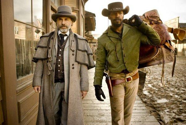 "Christoph Waltz, left, and Jamie Foxx star in ""Django Unchained."""