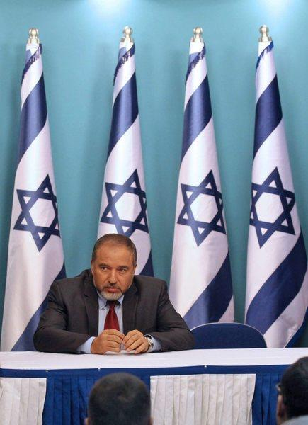 Avigdor Lieberman, then Israel's foreign minister, is shown during a Nov. 21 news conference at the prime minister's office in Jerusalem.