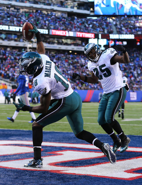 Jeremy Maclin #18 of the Philadelphia Eagles celebrates a touchdown during their game against the New York Giants at MetLife Stadium on December 30, 2012 in East Rutherford, New Jersey.
