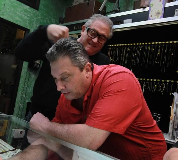 """Hardcore Pawn: Chicago"" co-stars Randy (in black) and Wayne(in red) Cohen at Royal Pawn Shop December 18, 2012,"