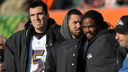 The Ravens' starters that did suit up for Sunday's regular-season finale, began heading to the sidelines about midway through the first quarter. Pro Bowl running back Ray Rice went first, pulling on a winter cap and a black jacket. Quarterback Joe Flacco followed him a couple of minutes later after playing two uneventful series.