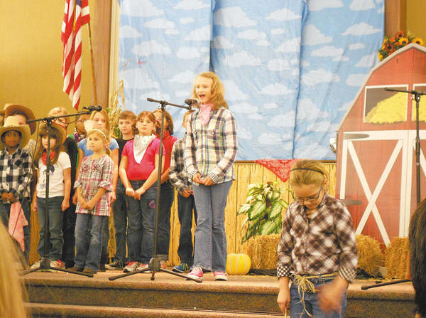 Fifth-grader Claire Kriner plays the part of Twister Tess in the musical.
