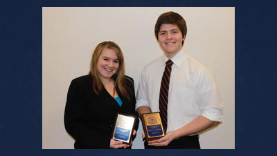 Turkeyfoot Valley Area seniors Rachel Phillippi and Scott Miltenberger recently spoke to the Somerset Exchange Club as students of the month.