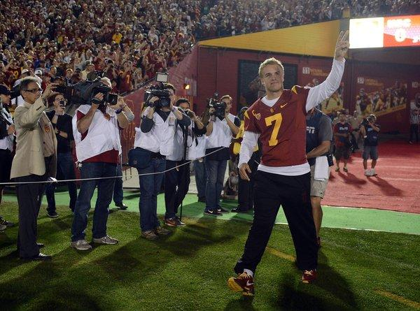 USC quarterback Matt Barkley is introduced along with other seniors before the game against Notre Dame.