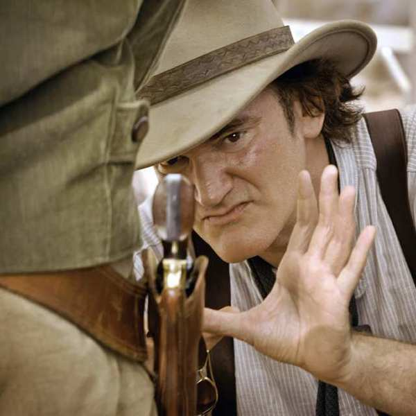 "Director Quentin Tarantino on the set of ""Django Unchained."""