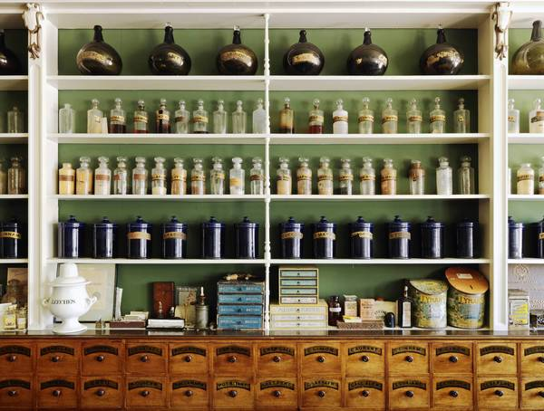 Interior view of the Niagara Apothecary