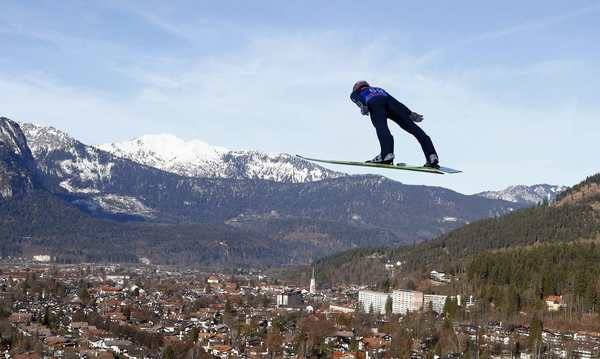 Germany's Severin Freund soars through the air during the practice session for the second jumping of the 61st four-hills ski jumping tournament in Garmisch-Partenkirchen, southern Germany, December 31, 2012.