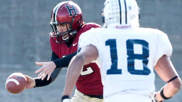 Gaylord High graduate Jake Dombrowski gets ready to boot the ball during his final collegiate game for Harvard, a 34-24 victory against rival Yale on Nov. 17. Dombrowski had an excellent career as Harvard's punter and was named All-Ivy League First Team and Academic All-Ivy League.