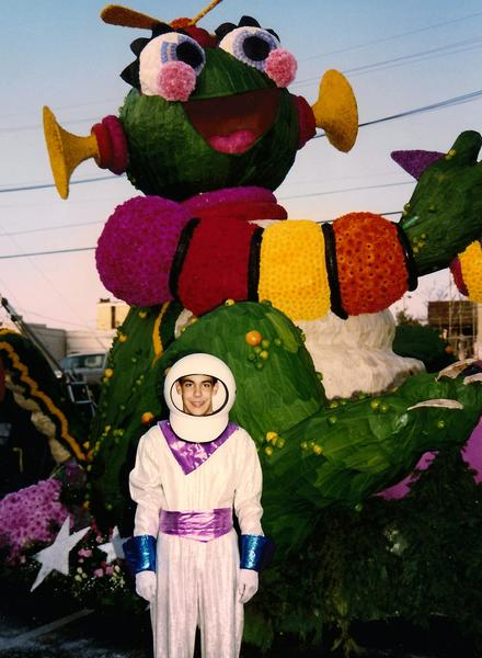 "Charles Meier, the youngest designer in Rose Parade history, designed his first float when he was 13. He won a design contest for the city of South Pasadena. The float, titled ""Star Stuck!"" depicts two aliens playing tug of war with a spaceship. Meier rode on the float as an astronaut during the 1992 Rose Parade."