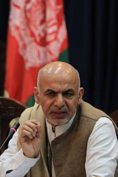 Ashraf Ghani Ahmadzai, chairman of the Afghan Transition Coordination Commission, briefs journalists in Kabul on Monday on the fourth phase of security transition from NATO troops to Afghan security forces.