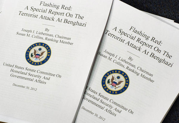 Copies for distribution of the The Senate Committee on Homeland Security and Governmental Affairs report on the terrorist attack in Benghazi, Libya.