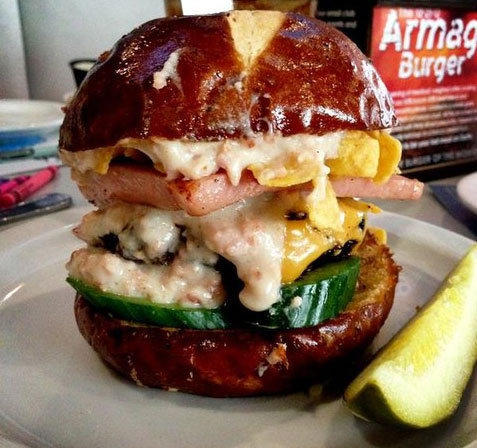 @luvbabyb on Twitter went all out with a Slater's 50/50 burger with spam and bacon gravy.