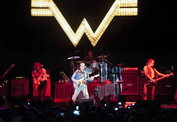More than a dozen acts, including headliners Weezer (pictured) plus Flogging Molly, Stephen Marley, Southern Culture on the Skids, All Mighty Senators, Jah Works, the Kelly Bell Band and others, performed on two stages at the Harbor East waterfront, during the inaugural Charm City Music Festival.
