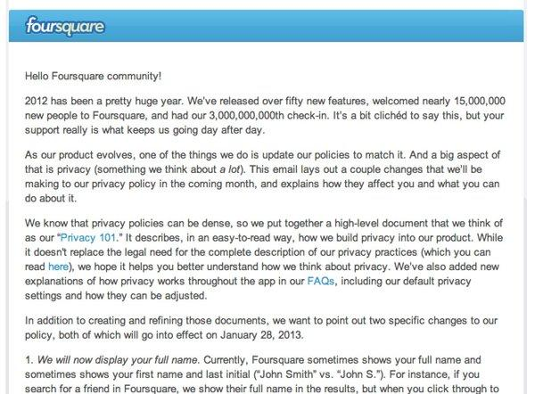 Foursquare announced privacy changes over the weekend that will go into effect in January.