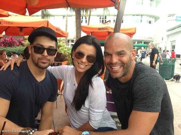 The best buds hung out on Miami Beach's Lincoln Road before jet-setting - via a private jet- to the Bahamas.     I'm in a Latino sandwich with @WValderrama and @amaury_nolasco !!! Haha
