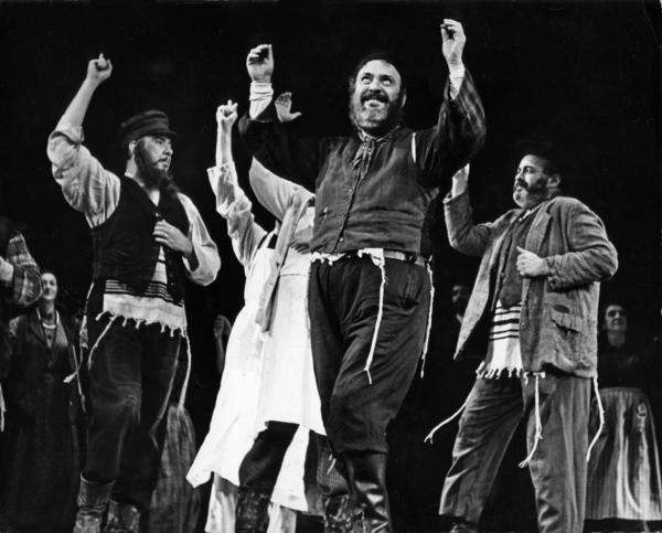 "Zero Mostel leads the musical number ""Tradition"" in the 1964 Broadway production of ""Fiddler on the Roof."""