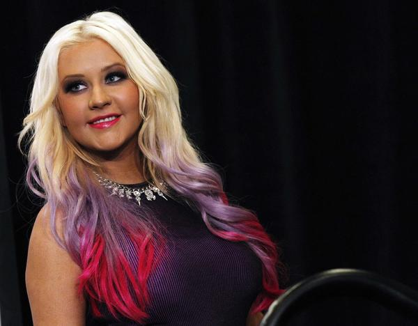 Christina Aguilera dip-dyed hair