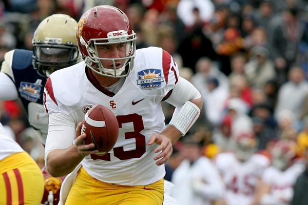 USC quarterback Max Wittek looks to hand off during the Sun Bowl.