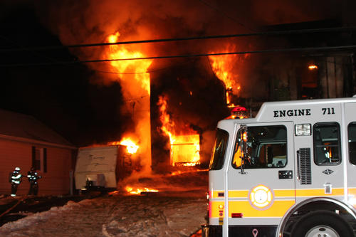 Firefighters from the Emmaus Fire Department were called to 502 E Main Street around 12:45 a.m. for a reported house fire. Two houses were destroyed in during the 3-alarm fire. One person from the house was taken by EMS to a local hospital for smoke inhalation.