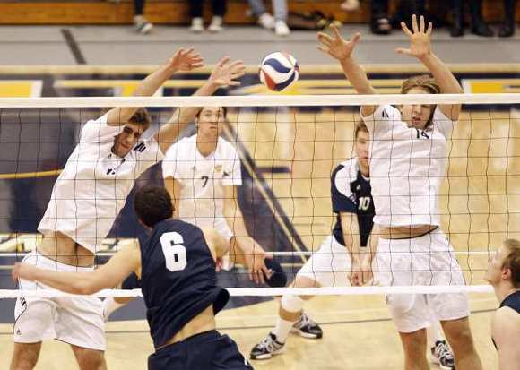 Scott Kevorken, left, Kevin Tillie (7), Will Thomas (10) and Jeremy Denjo (14) are key returners for the UC Irvine men's volleyball team.