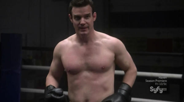 "Eddie McClintock boxing in Syfy's ""Warehouse 13."""